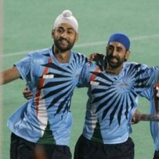 Celebrations after India defeat Pakistan in their openning game of the Hockey World Cup 2010