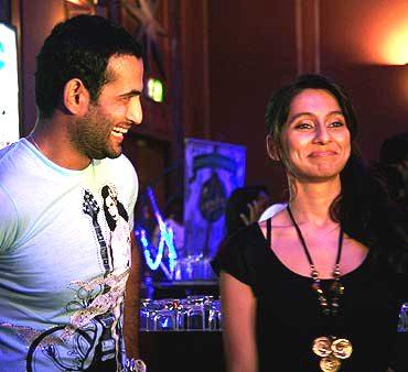 Irfan Pathan & Anusha at an IPL after party